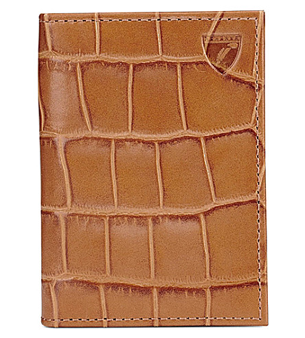 ASPINAL OF LONDON Crocodile-embossed double leather card holder (Tan