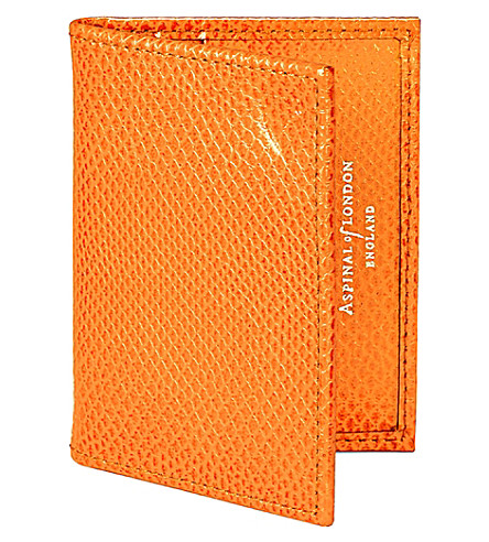 ASPINAL OF LONDON Lizard print leather travel card case (Orange