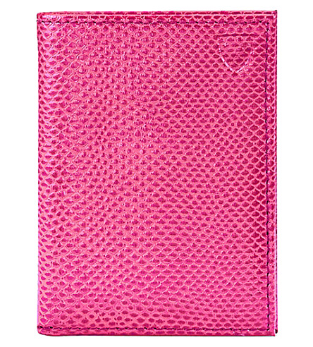 ASPINAL OF LONDON Double fold leather card case (Pink