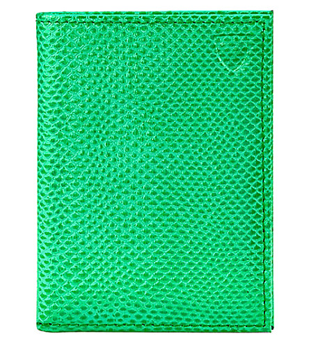 ASPINAL OF LONDON Double fold leather card case (Green