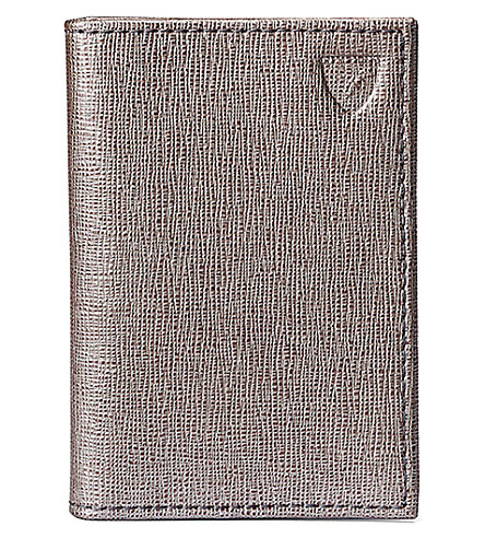 ASPINAL OF LONDON Double fold leather credit card case (Grey