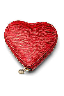 ASPINAL Heart lizard-embossed leather coin purse