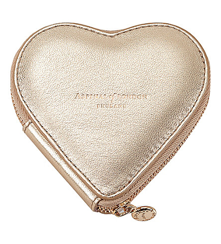ASPINAL OF LONDON Heart metallic leather coin purse (Gold