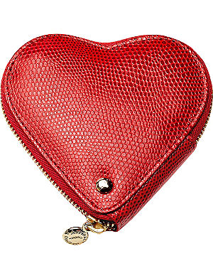 ASPINAL OF LONDON Heart lizard-embossed leather coin purse