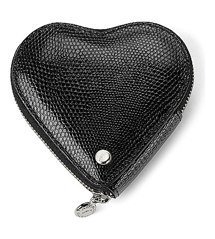 ASPINAL OF LONDON Heart lizard-embossed leather coin purse (Black