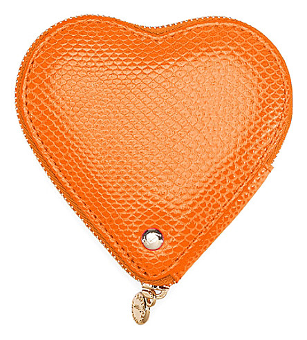 ASPINAL OF LONDON Lizard-embossed leather heart coin purse (Orange