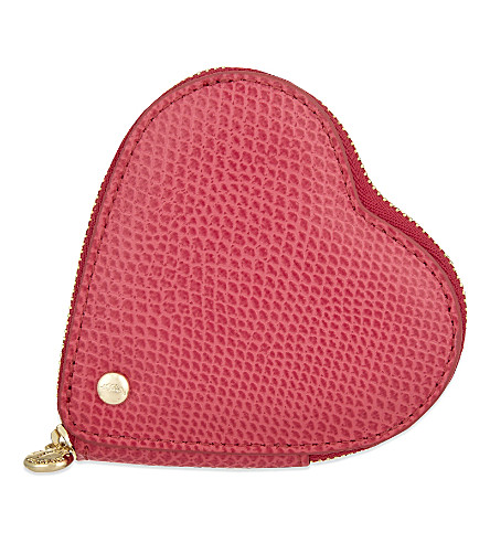 ASPINAL OF LONDON Leather heart coin purse (Pink