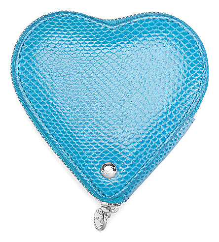 ASPINAL OF LONDON Lizard-embossed leather heart coin purse (Blue