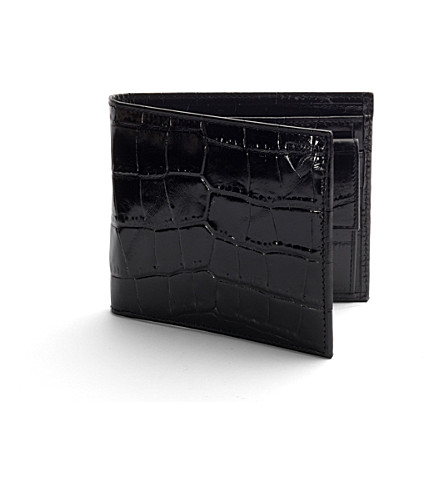 ASPINAL OF LONDON Billfold crocodile-embossed leather coin wallet (Black