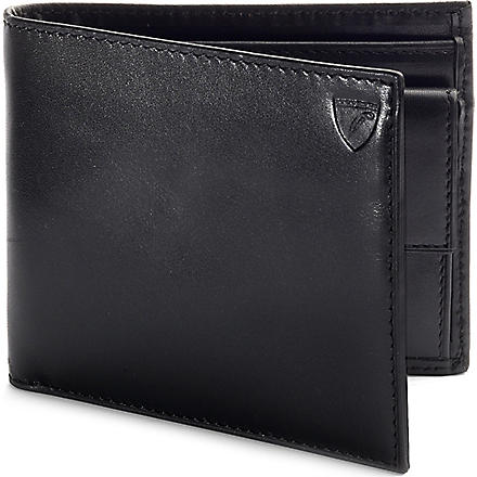 ASPINAL OF LONDON Leather billfold wallet with coin compartment (Black & cobalt blue
