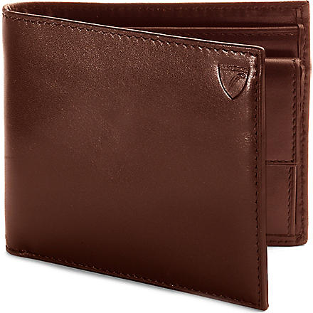 ASPINAL Leather billfold wallet with coin compartment (Cognac & espresso