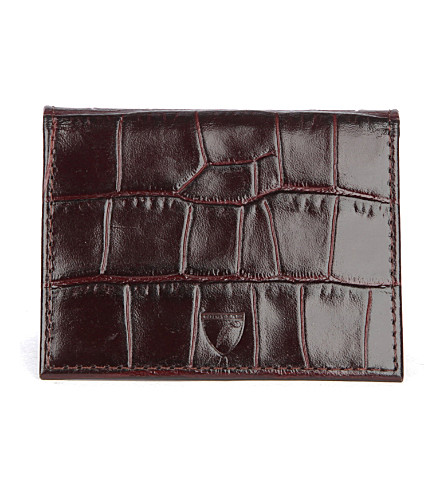 ASPINAL OF LONDON ID & Travel crocodile-embossed leather card case (Amazon+brown
