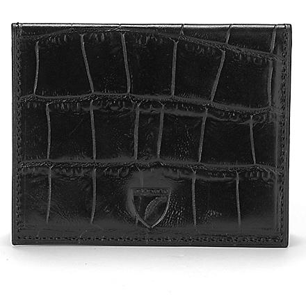 ASPINAL Embossed leather ID and travel card case (Black croc & cobalt