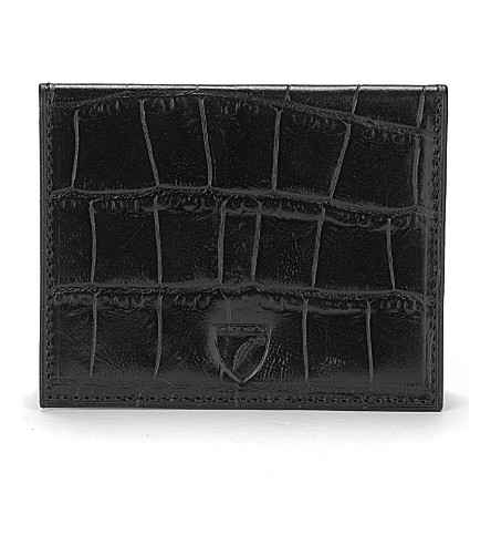 ASPINAL OF LONDON Id & travel card case black mock croc & (Black croc & cobalt