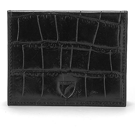 ASPINAL OF LONDON Embossed leather ID and travel card case (Black
