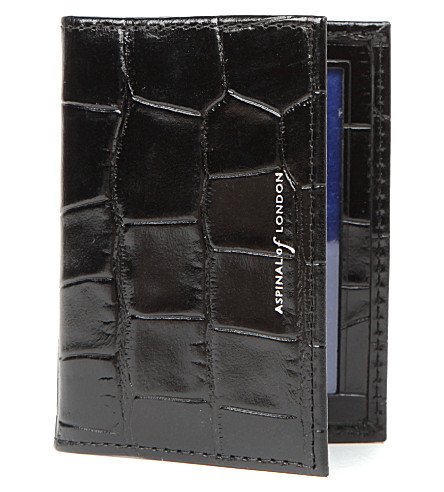 ASPINAL OF LONDON Embossed leather ID and travel card case (Black & cobalt