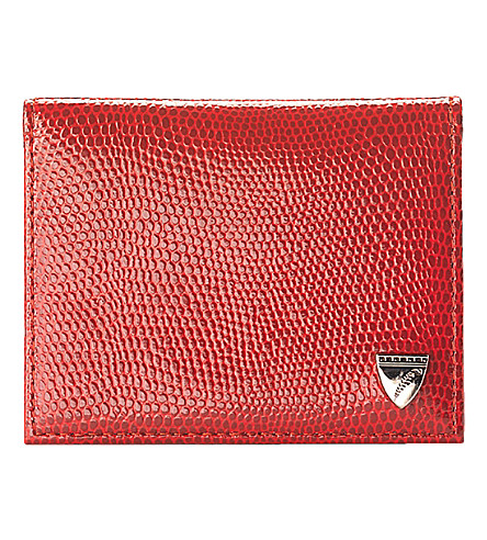 ASPINAL OF LONDON Lizzard-embossed leather ID and travel card case (Berry