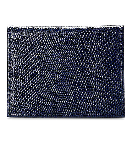 ASPINAL OF LONDON ID & travel card lizard-embossed leather case (Navy