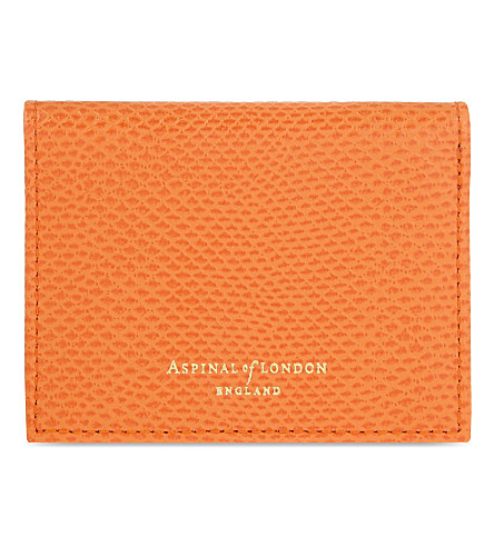 ASPINAL OF LONDON Lizard-embossed leather ID & travel card holder (Orange
