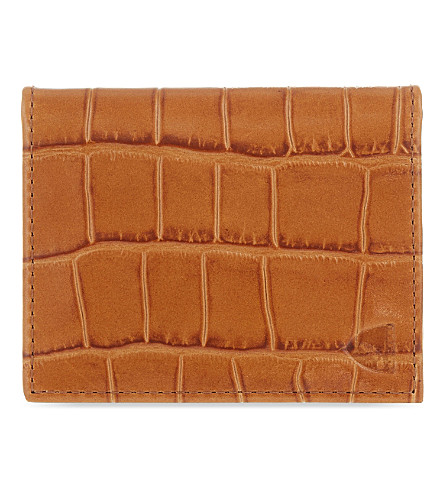 ASPINAL OF LONDON Crocodile-embossed leather ID & travel card holder (Tan