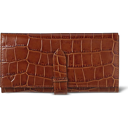 ASPINAL OF LONDON Mock-croc purse wallet (Vintage tan & beige