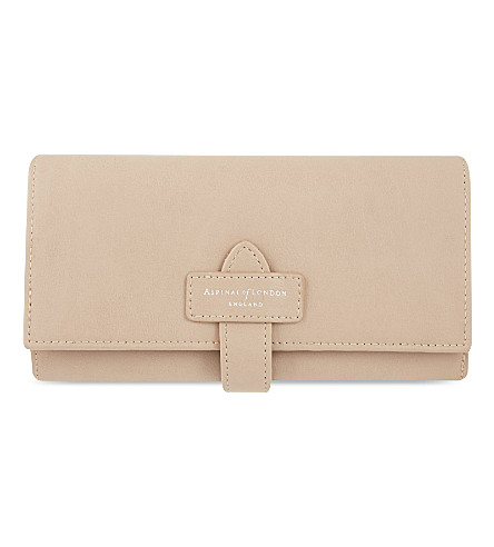 ASPINAL OF LONDON Leather flap purse (Nude