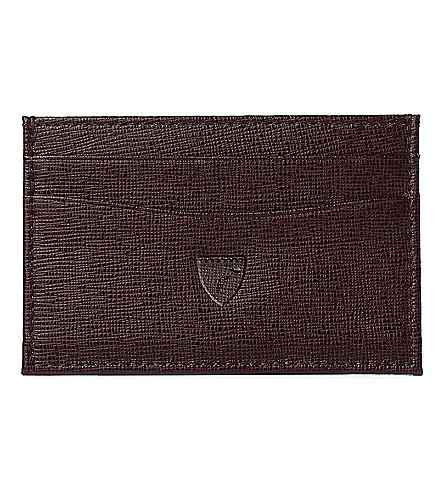 ASPINAL OF LONDON Slim saffiano leather credit card case (Brown