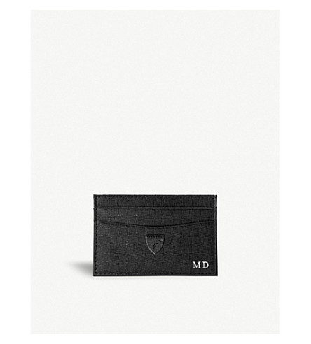 ASPINAL OF LONDON Slim saffiano leather credit card case (Black