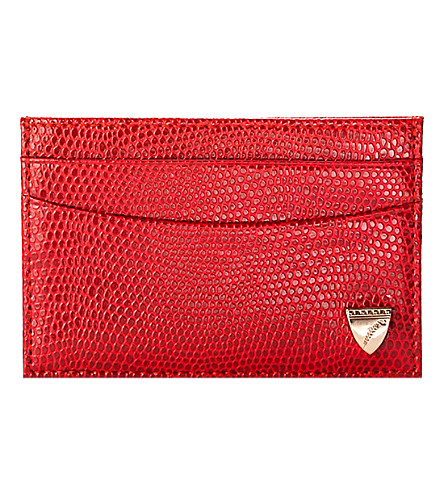 ASPINAL OF LONDON Slim leather credit card case (Berry