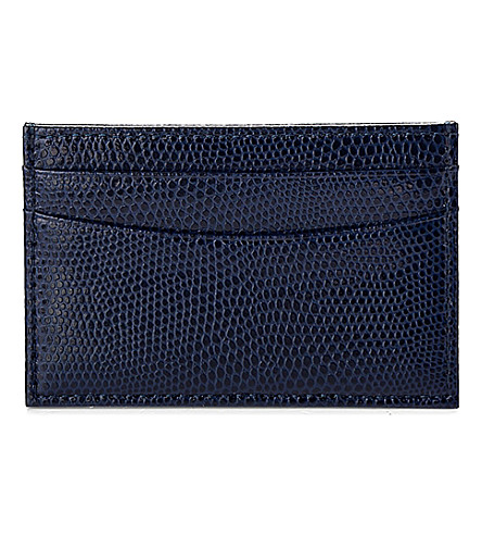 ASPINAL OF LONDON Slim lizard-embossed leather credit card case (Navy