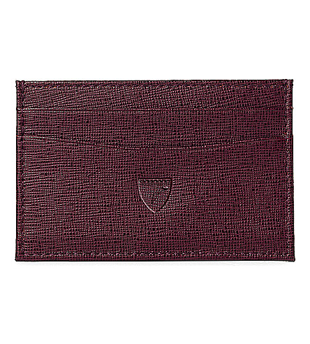 ASPINAL OF LONDON Slim saffiano leather credit card case (Burgundy