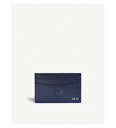ASPINAL OF LONDON Slim leather credit card case (Navy