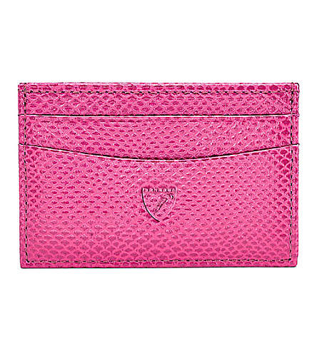 ASPINAL OF LONDON Slim embossed-leather credit card case (Pink