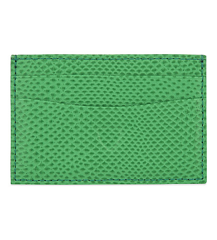 ASPINAL OF LONDON Leather slim credit card case (Green
