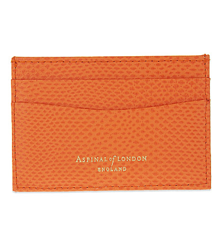 ASPINAL OF LONDON Lizard-embossed slim leather card holder (Orange