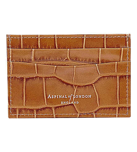 ASPINAL OF LONDON Slim leather credit card case (Tan