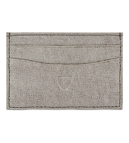 ASPINAL OF LONDON Saffiano slim credit card case (Grey
