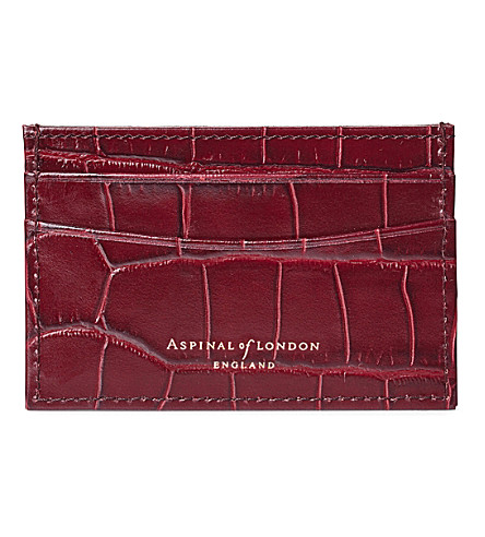 ASPINAL OF LONDON Slim crocodile-embossed leather credit card case (Bordeaux
