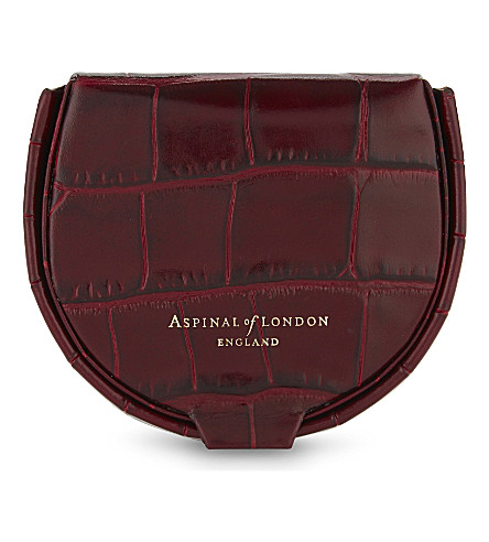 ASPINAL OF LONDON Horseshoe croc-embossed leather coin holder (Bordeaux