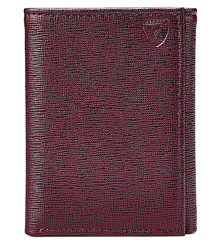 ASPINAL OF LONDON Trifold saffiano leather wallet (Burgundy