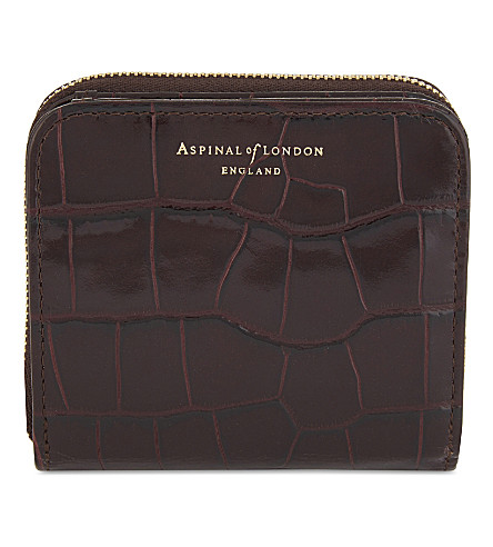 ASPINAL OF LONDON Mini continental leather purse (Amazon+brown