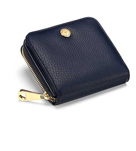 ASPINAL OF LONDON Mini continental leather coin purse (Navy