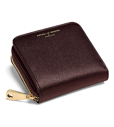 ASPINAL OF LONDON Mini continental purse brown saffiano (Brown