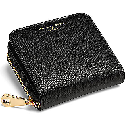 ASPINAL OF LONDON Mini Continental leather coin purse (Black