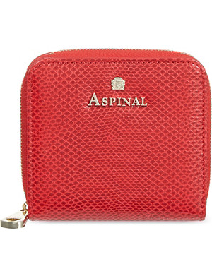 ASPINAL OF LONDON Mini continental lizard-embossed leather coin purse