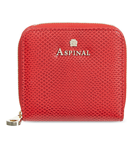 ASPINAL OF LONDON Mini continental lizard-embossed leather coin purse (Berry