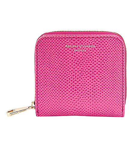 ASPINAL OF LONDON Mini Continental reptile-effect leather coin purse (Pink