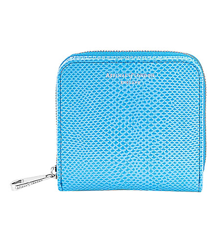 ASPINAL OF LONDON Mini Continental reptile-effect leather coin purse (Blue