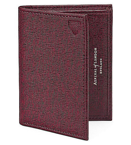 ASPINAL OF LONDON Double Fold leather credit card case (Burgundy