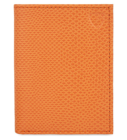 ASPINAL OF LONDON Leather double credit card case (Orange